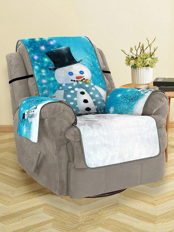Christmas Snowman Printing Couch Cover - BLUE IVY SINGLE SEAT