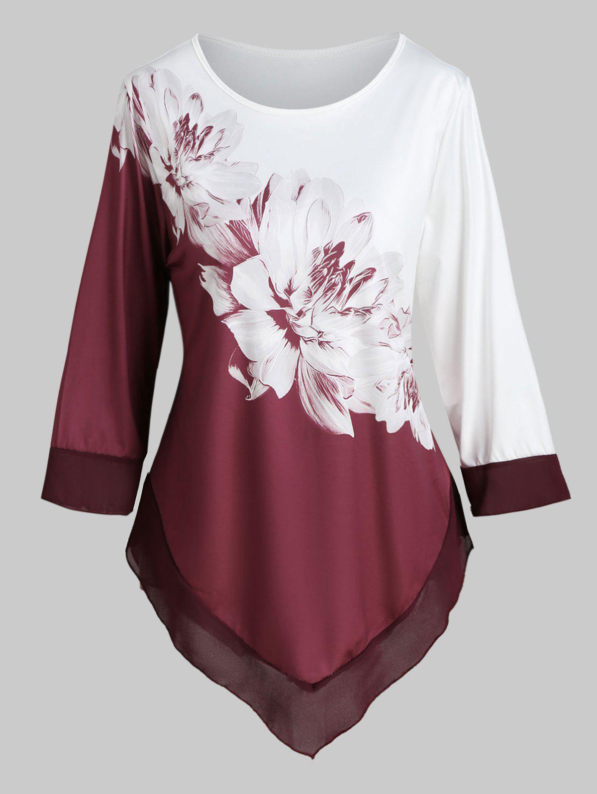 Plus Size Two Tone imprimé floral asymétrique T-shirt - Rouge Vineux L