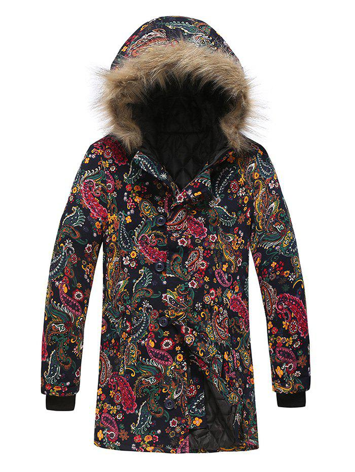 Paisley Floral Tribal Print Faux Fur Hooded Padded Coat - multicolor F 3XL
