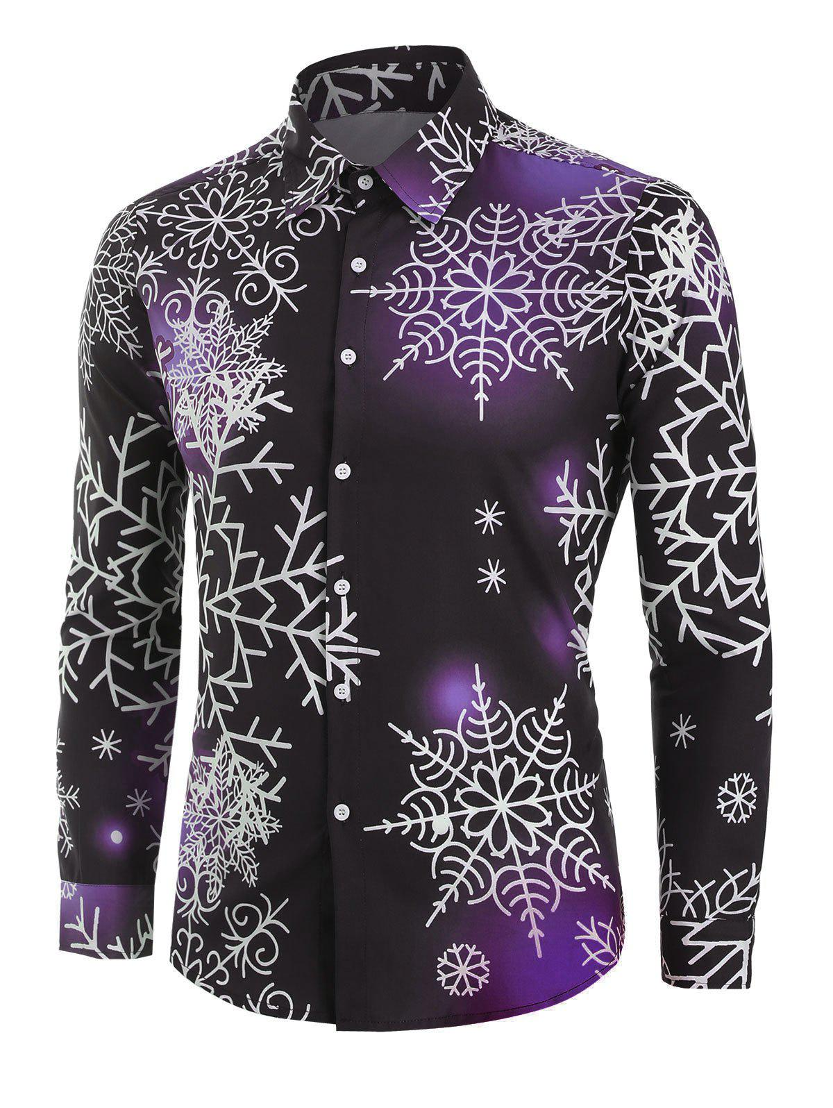 Christmas Snowflake Light Print Button Up Shirt - DARK ORCHID 3XL