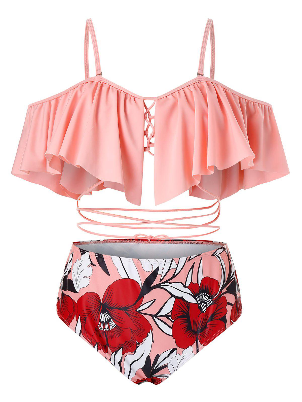 Plus Size Ruffled Lace Up Floral Two Piece Swimsuit - LIGHT PINK 5X