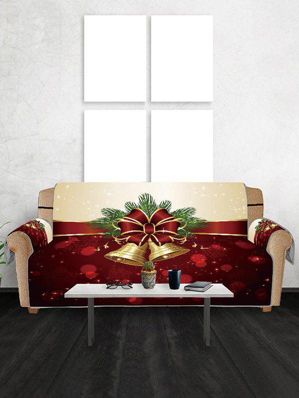 Christmas Bell Snowflake Couch Cover - FIREBRICK TWO SEATS
