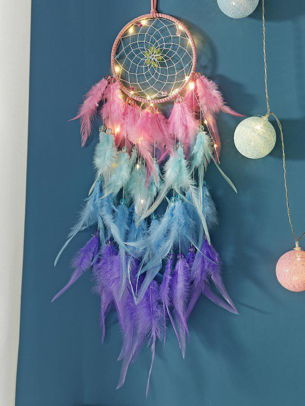 Dream Catcher Feather Home Hanging Decoration - multicolor A WITH LIGHTS