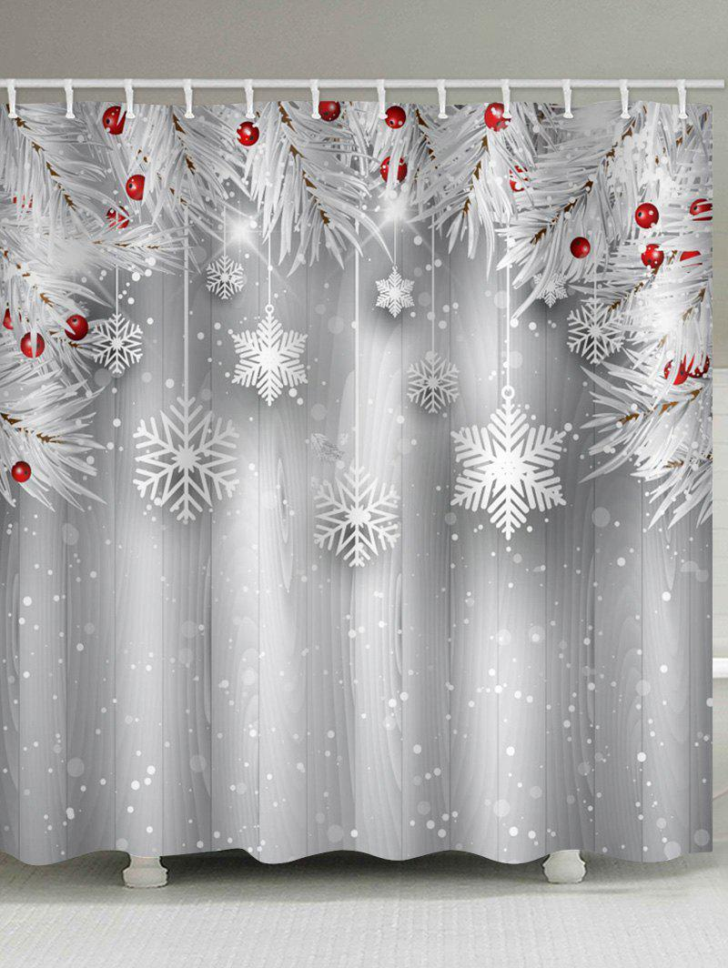 Christmas Wooden Snowflake Waterproof Shower Curtain - GRAY GOOSE W71 X L79 INCH
