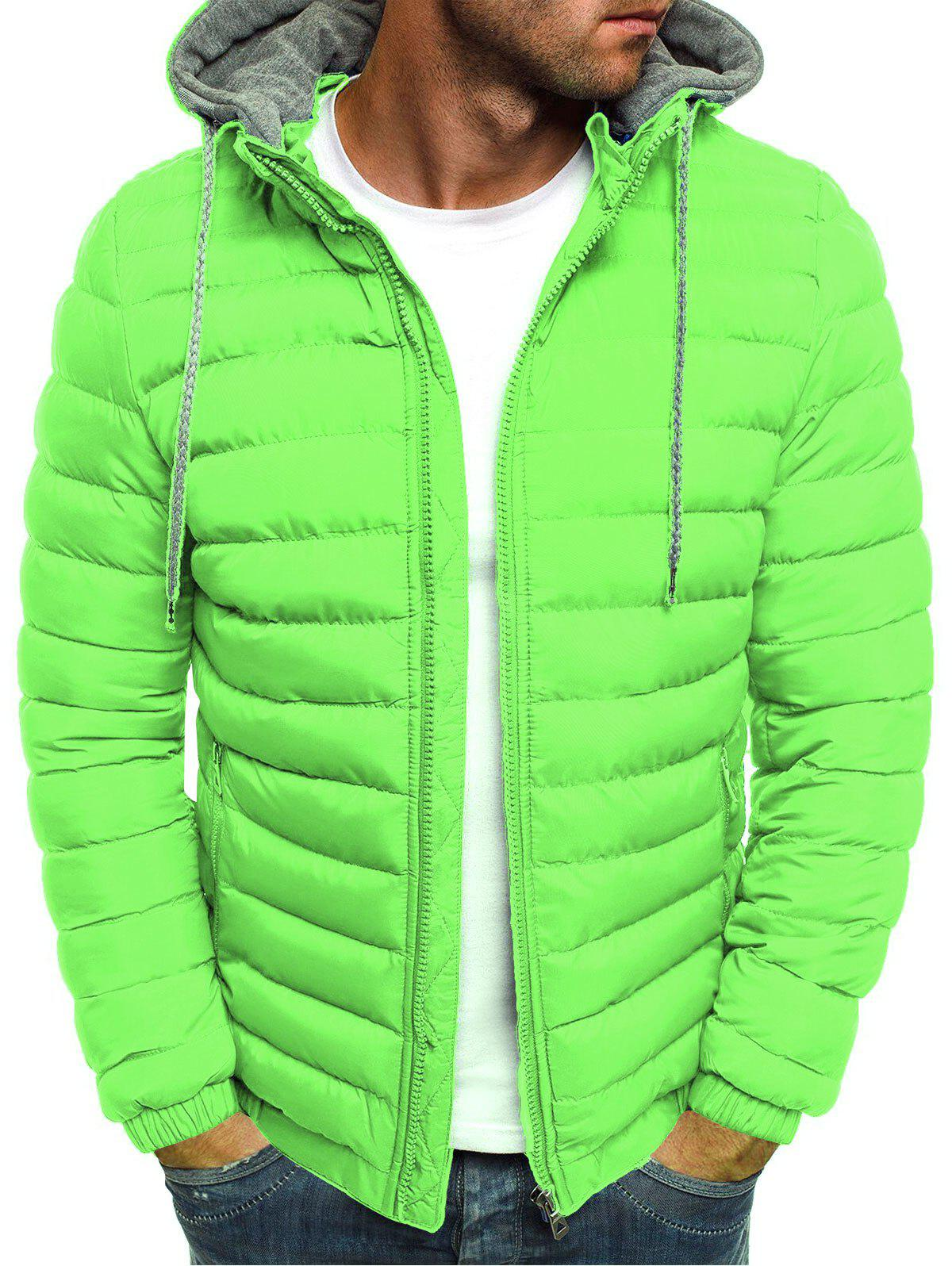 Solid Color Zip Up Hooded Quilted Jacket - GREEN M