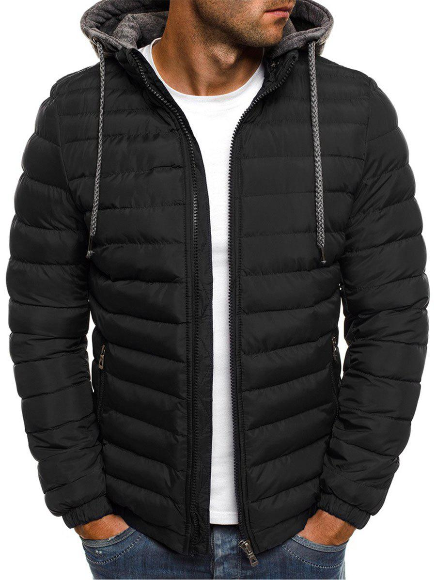 Solid Color Zip Up Hooded Quilted Jacket - BLACK 3XL