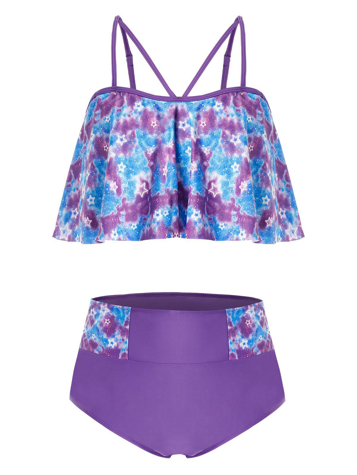 Plus Size Tie Dye Galaxy Print Ruffled Tankini Swimsuit - PURPLE FLOWER L