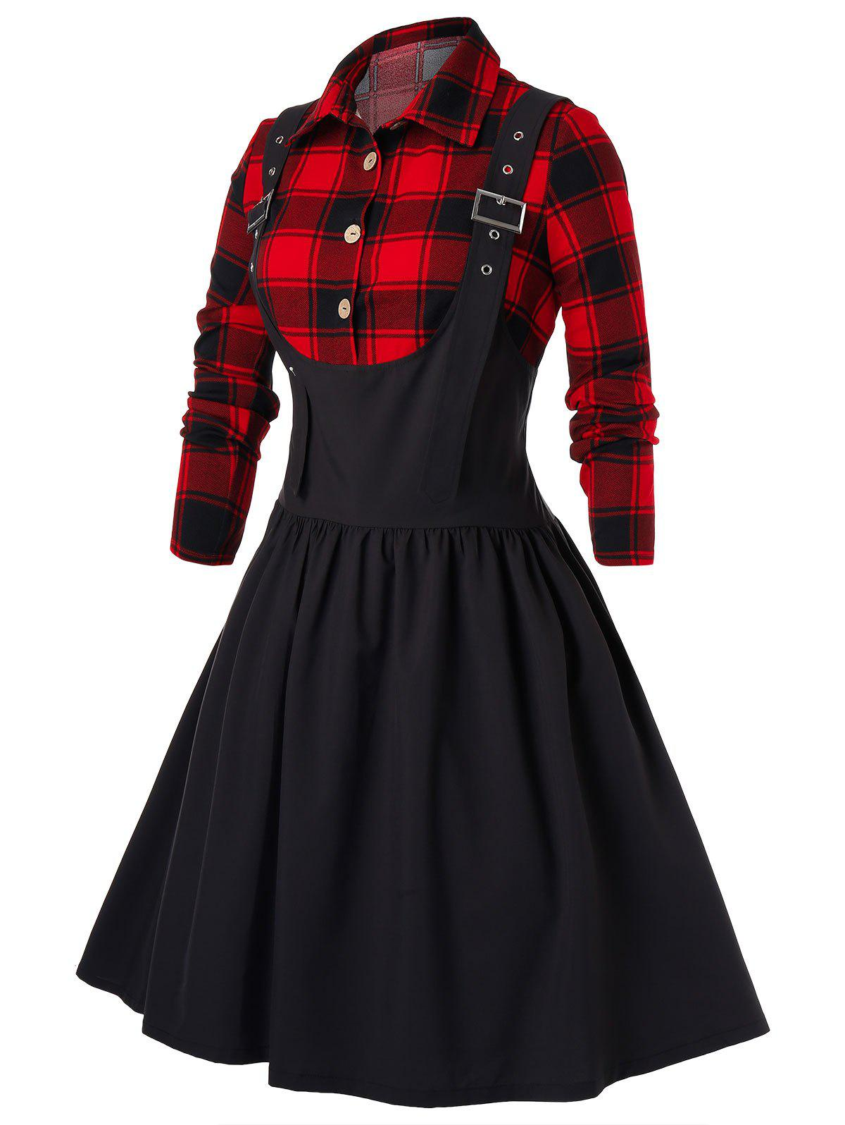 Plus Size Plaid Dress Up Buckles Pin - Noir 5X