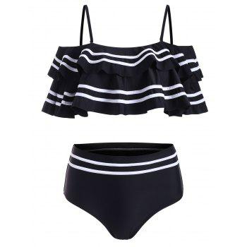 Layered Flounce Striped Panel Cold Shoulder Bikini Swimsuit