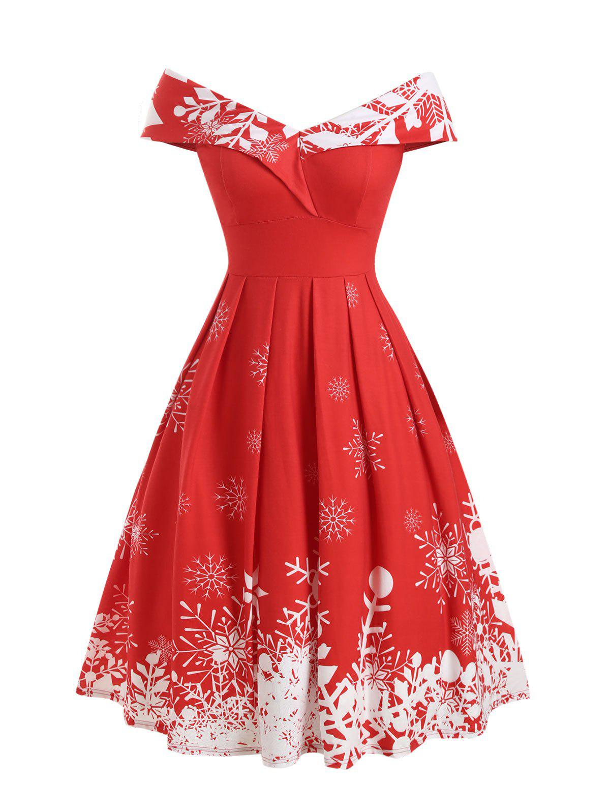 Christmas Snowflake Off Shoulder Foldover Dress - RED S