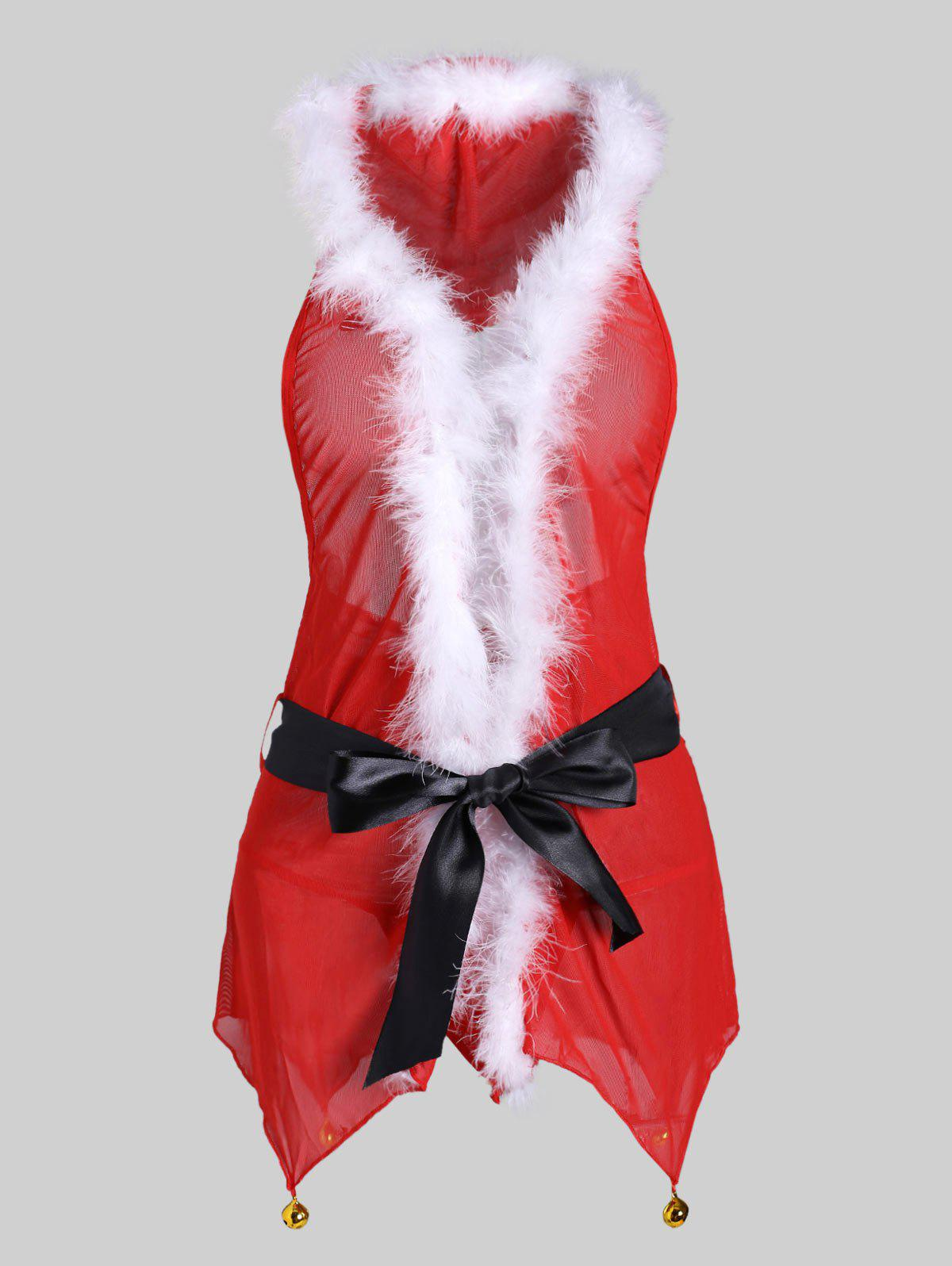 Christmas Bell Belted Fuzzy T Back Plus Size Babydoll - RED L