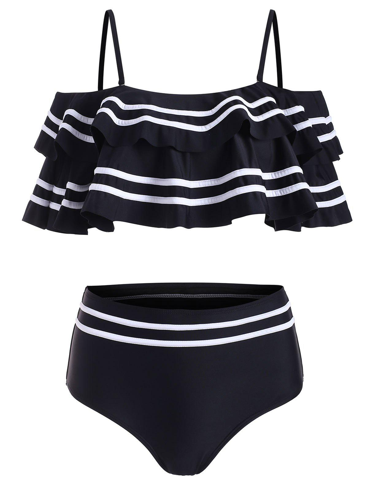 Layered Flounce Striped Panel Cold Shoulder Bikini Swimsuit - BLACK L