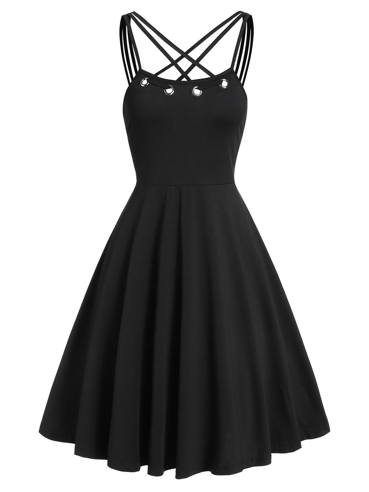 Strap Collar Fit And Flare Dress - BLACK 3XL