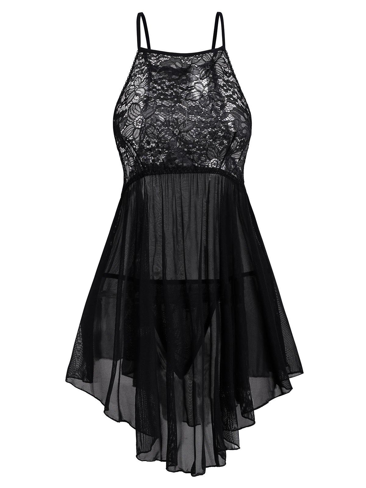 Lace and Mesh Curved Hem Plus Size Babydoll Set - BLACK 2X