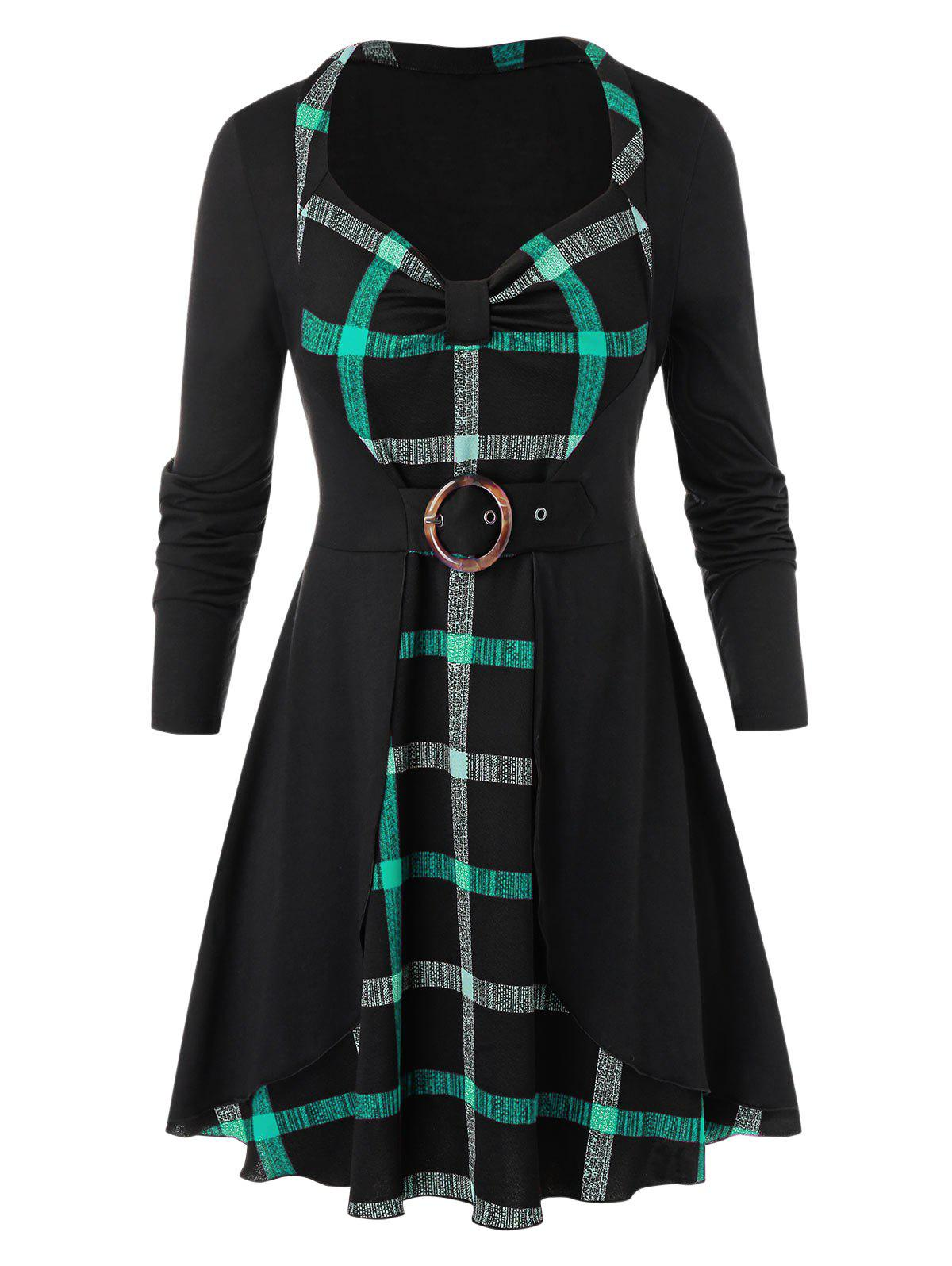 Plus Size Knotted Plaid Long Tunic T Shirt - DARK TURQUOISE 4X