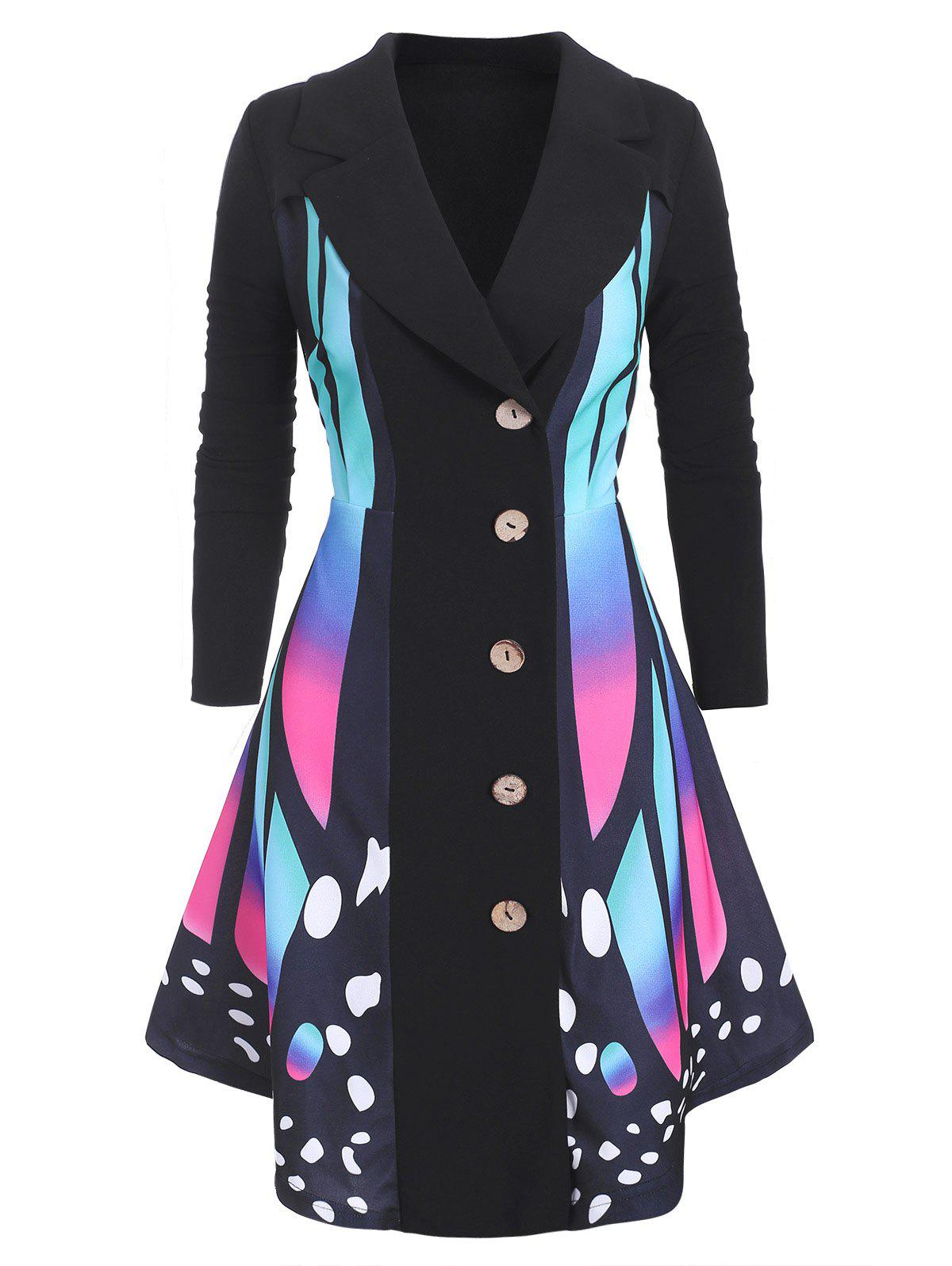 Butterfly Print Asymmetrical Plus Size Coat - BLACK 2X