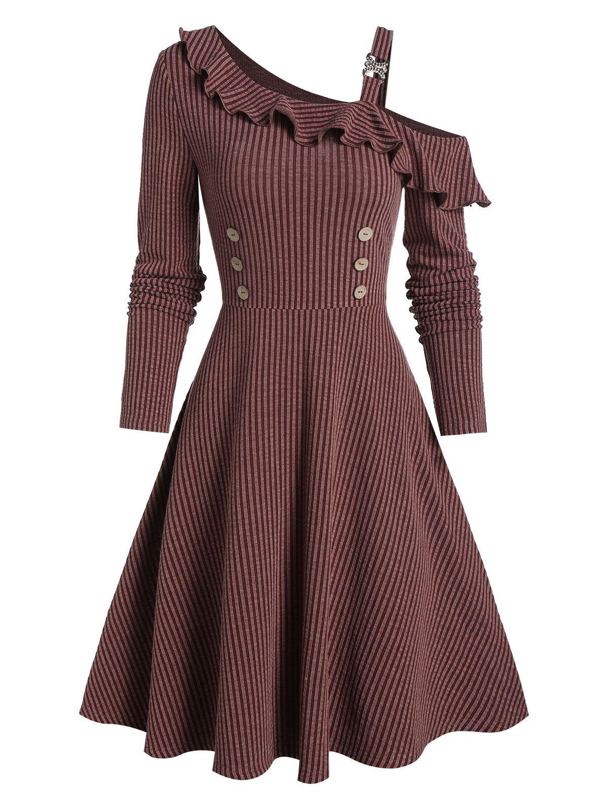 Button Embellished Fit And Flare Dress - SEPIA 3XL