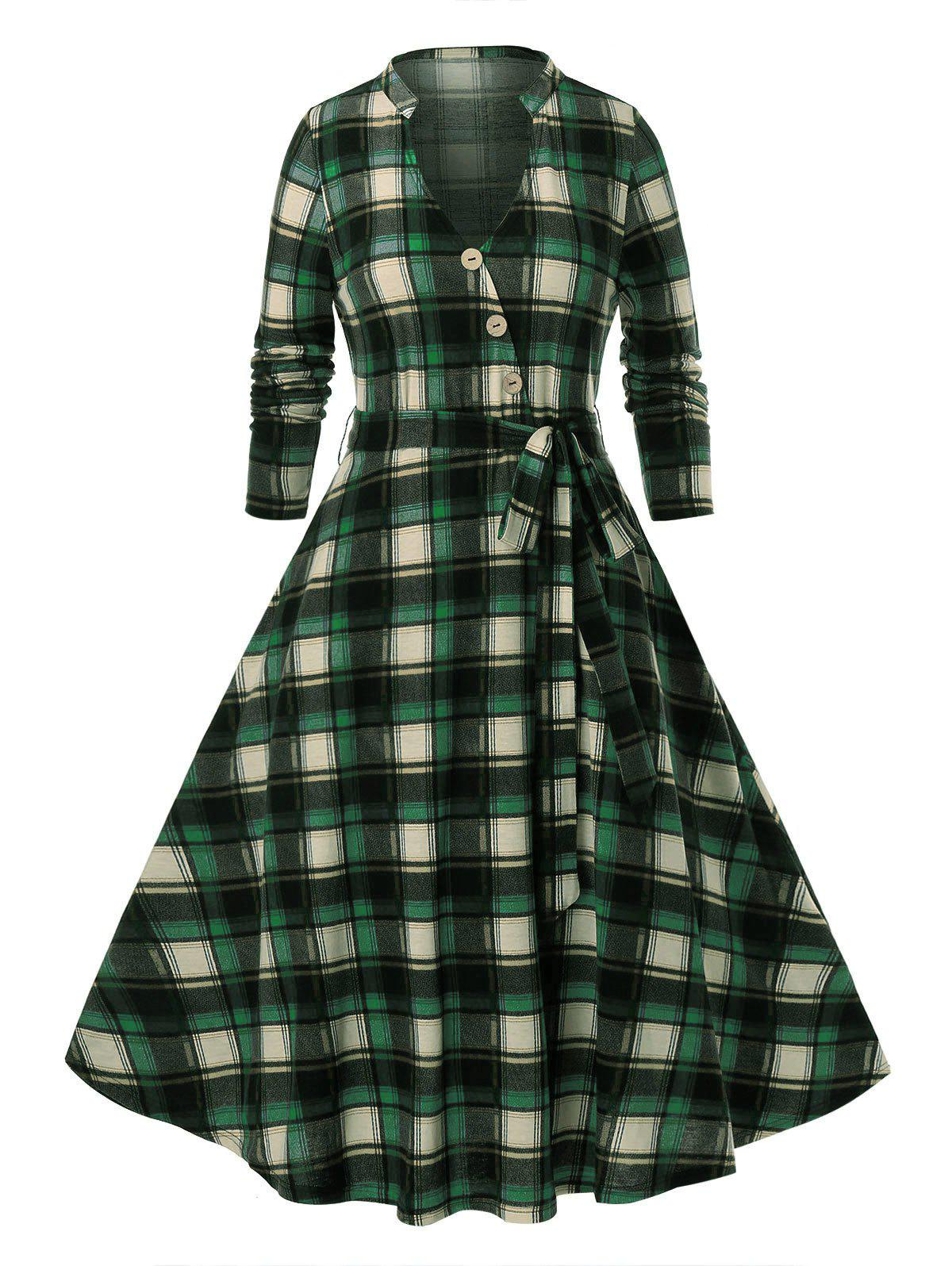Plus Size Plaid Pattern Long Sleeve Dress - GREENISH BLUE 2X