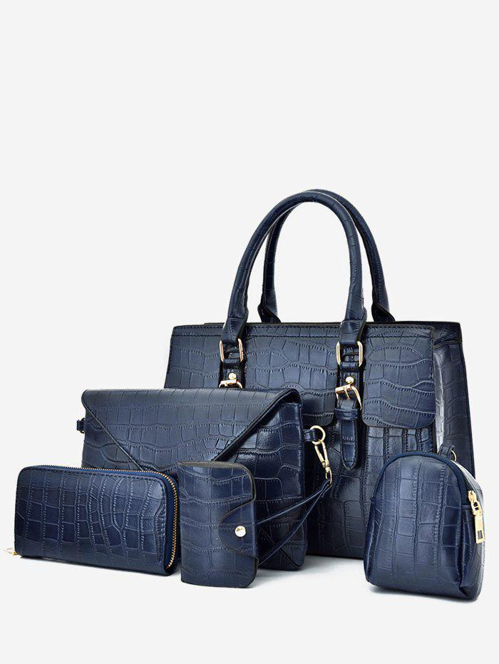 5 Piece Plain Animal Embossed Tote Bag Set - DEEP BLUE