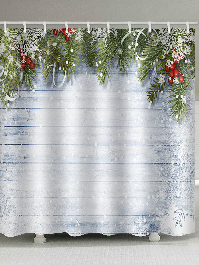 Christmas Wooden Snow Waterproof Shower Curtain - ALICE BLUE W59 X L71 INCH