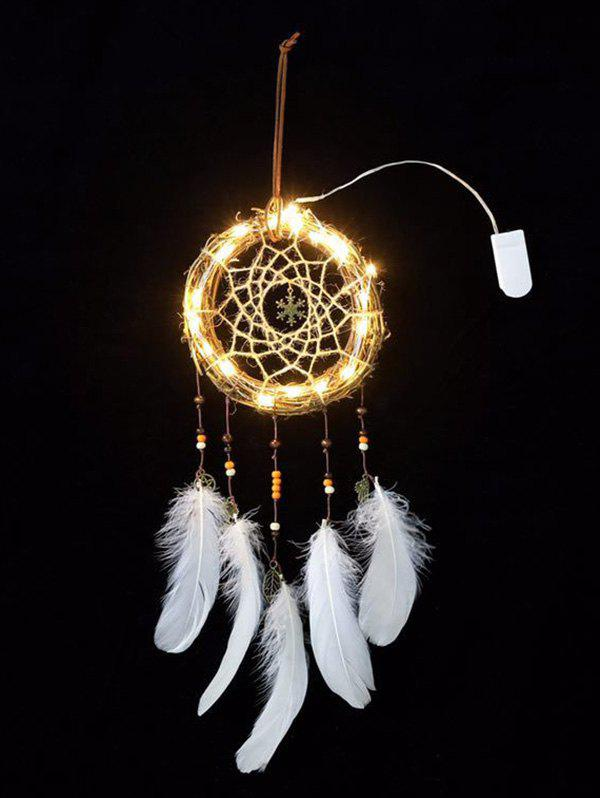 Christmas Snowflake Shape Handmade Indian Dream Catcher - WHITE WITH LIGHTS