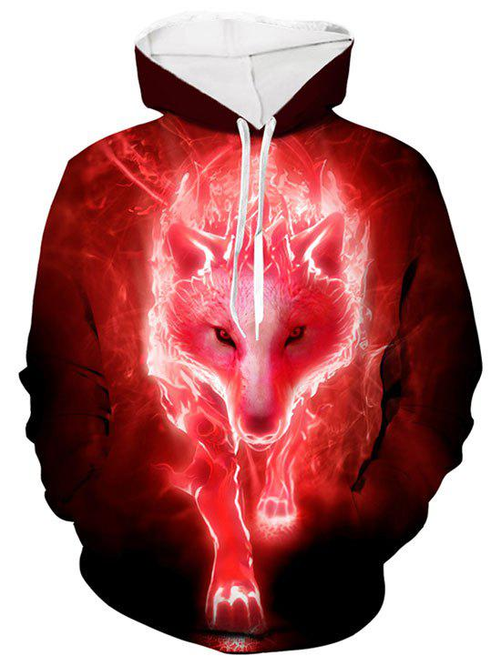 Wolf 3D Print Casual Drawstring Hoodie - RED L
