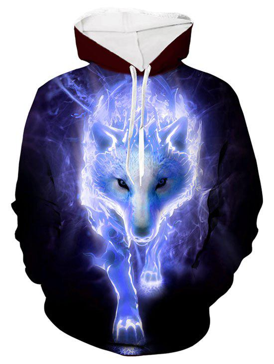 Wolf 3D Print Casual Drawstring Hoodie - LIGHT SLATE BLUE M
