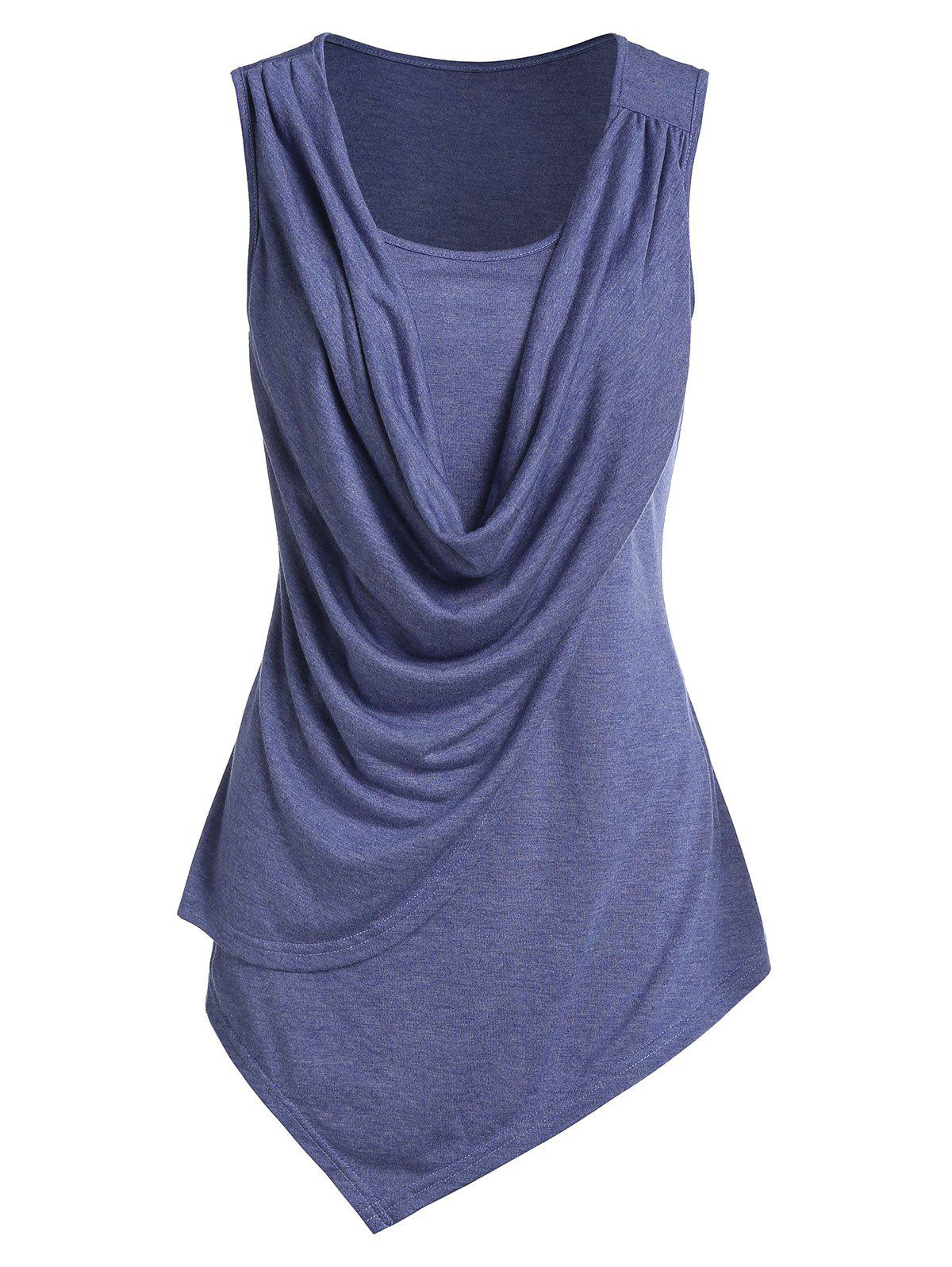 Asymmetric Draped Overlap Tank Top - BLUE M