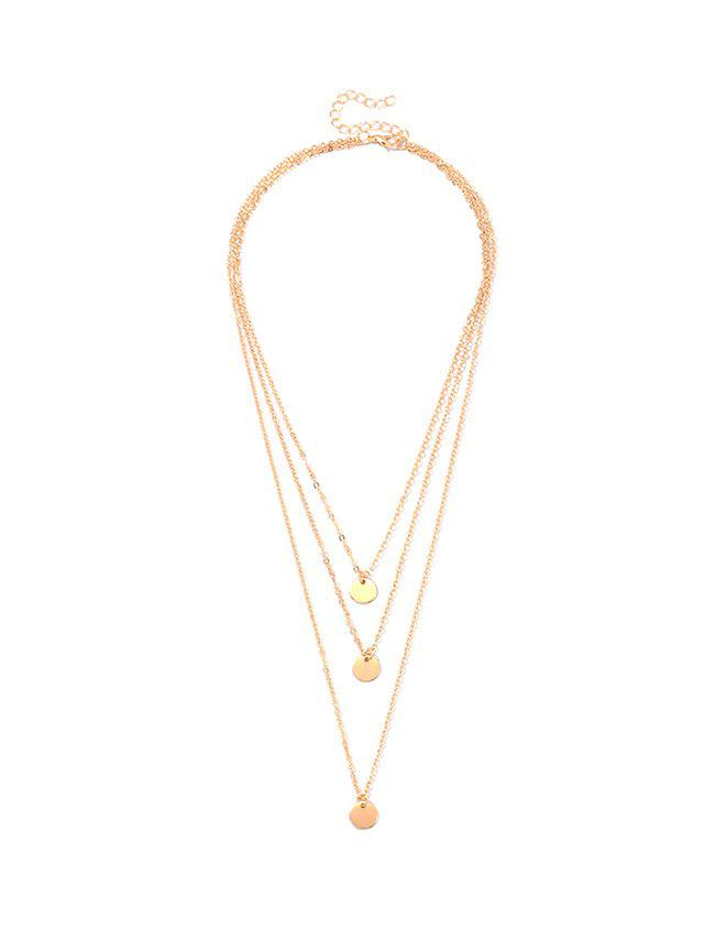 Alloy Sequin Layered Necklace - GOLD