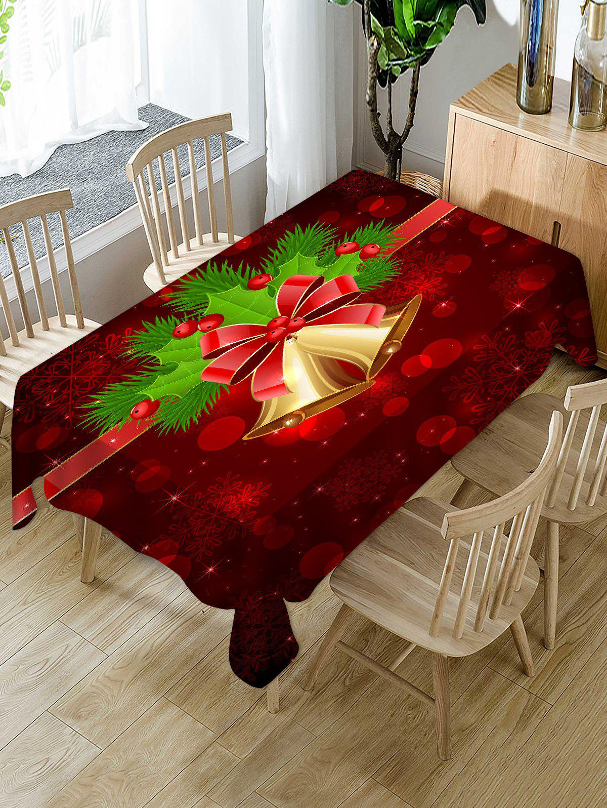 Christmas Bells Berry Print Waterproof Fabric Tablecloth - multicolor 55 X 71 INCH