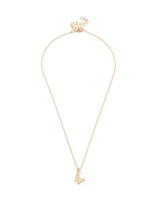 Carved Butterfly Shape Pendant Necklace - GOLD