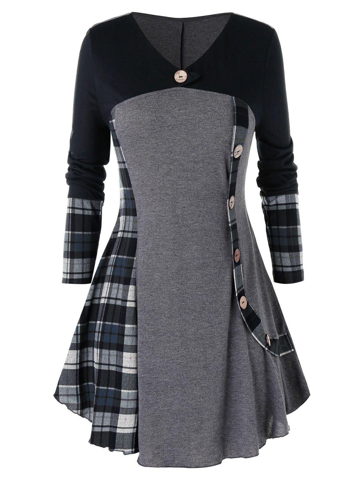 Plus Size Plaid Tunic T Shirt - CLOUDY GRAY 5X