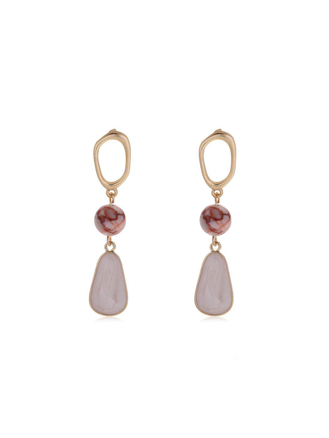 Natural Stone Bead Water Drop Earrings - GOLD