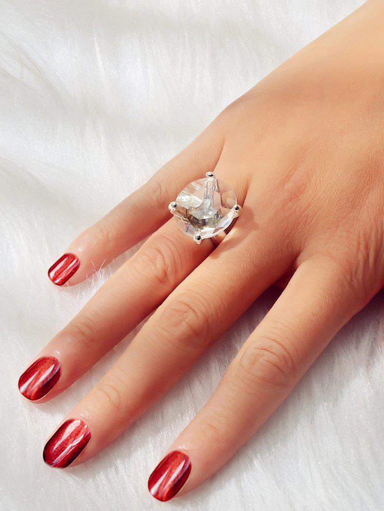 Faux Big Crystal Wedding Ring - SILVER