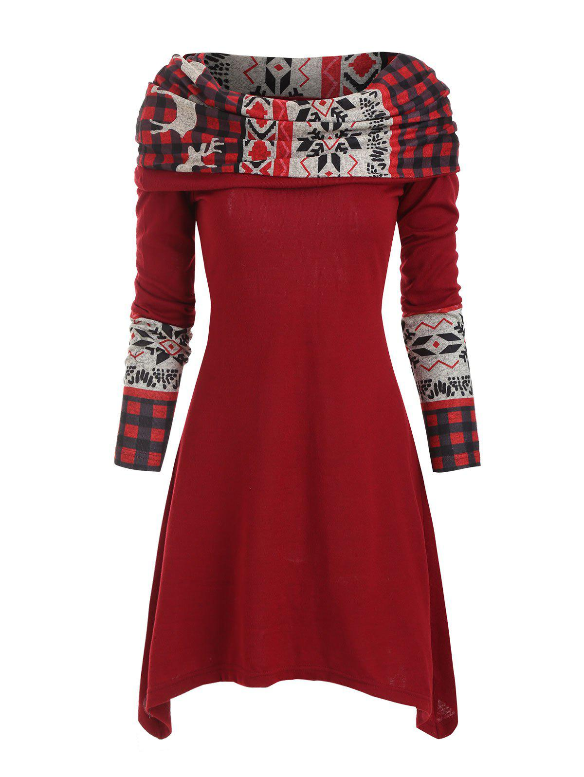 Christmas Elk Plaid Knitted Multiway Asymmetrical Dress - RED WINE 2XL