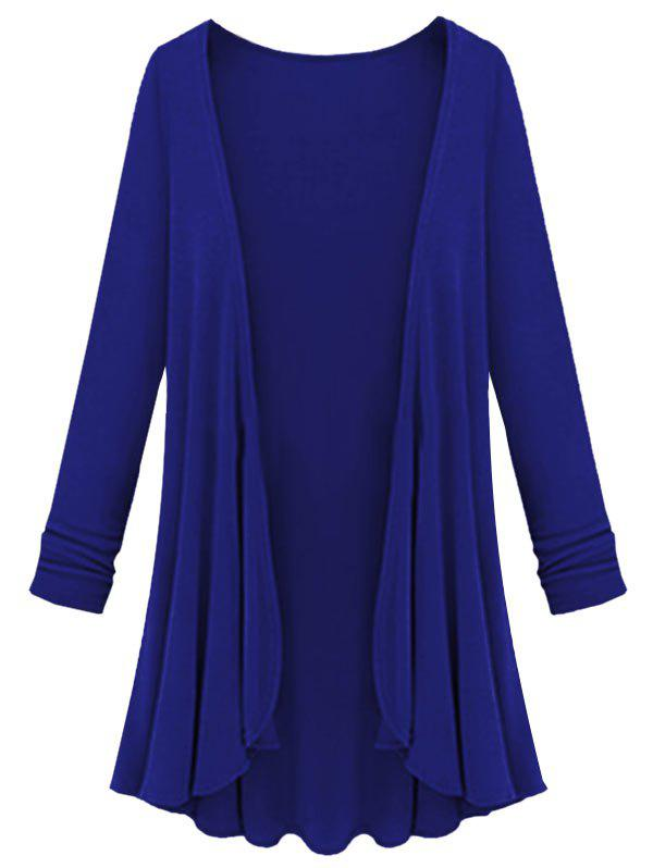 Plus Size Collarless Open Front Cardigan - BLUE 1X