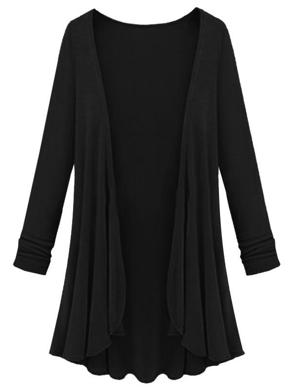 Plus Size Collarless Open Front Cardigan - BLACK 4X