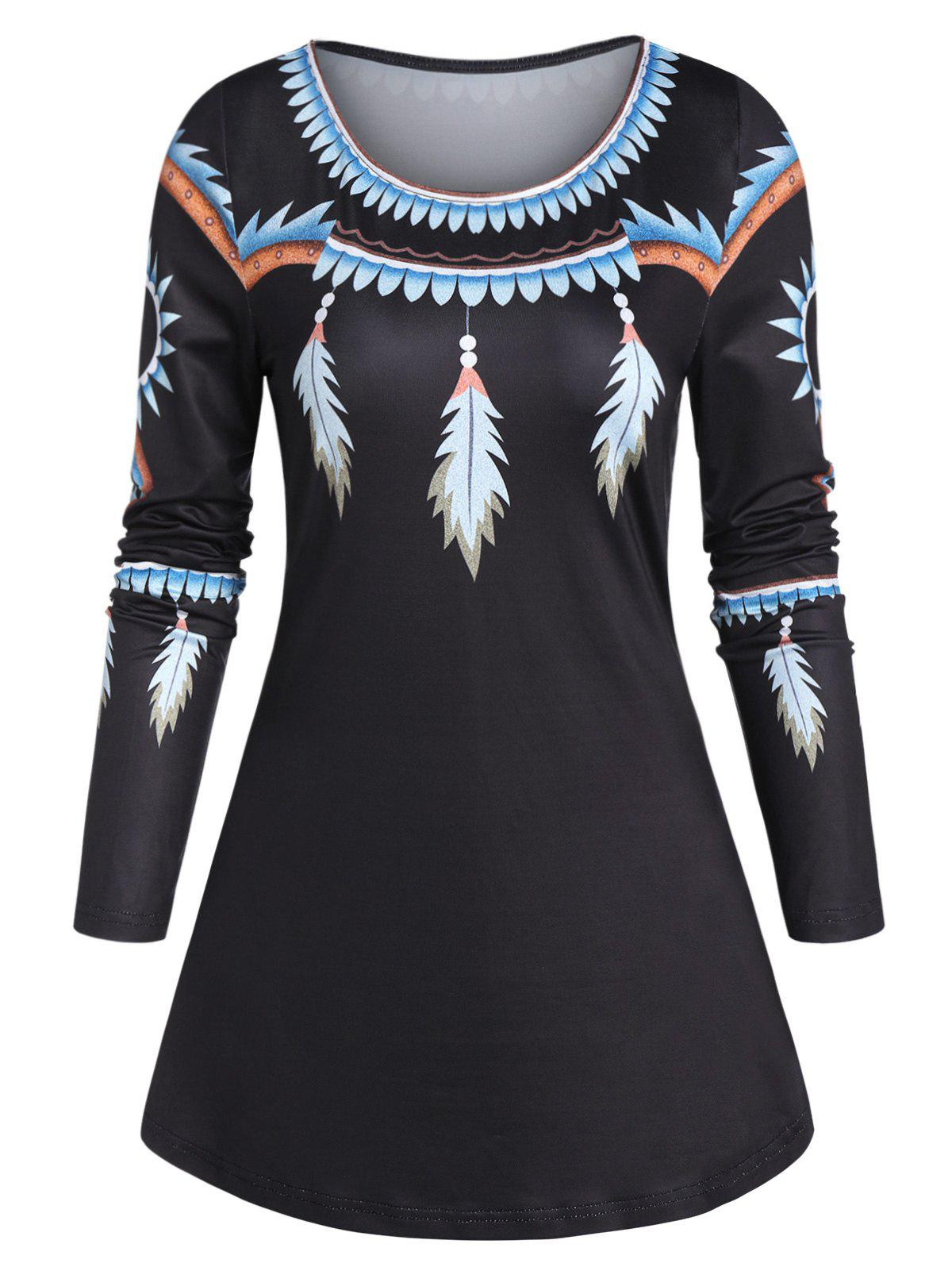 Feather Print Tunic Swing T Shirt - BLACK 2XL