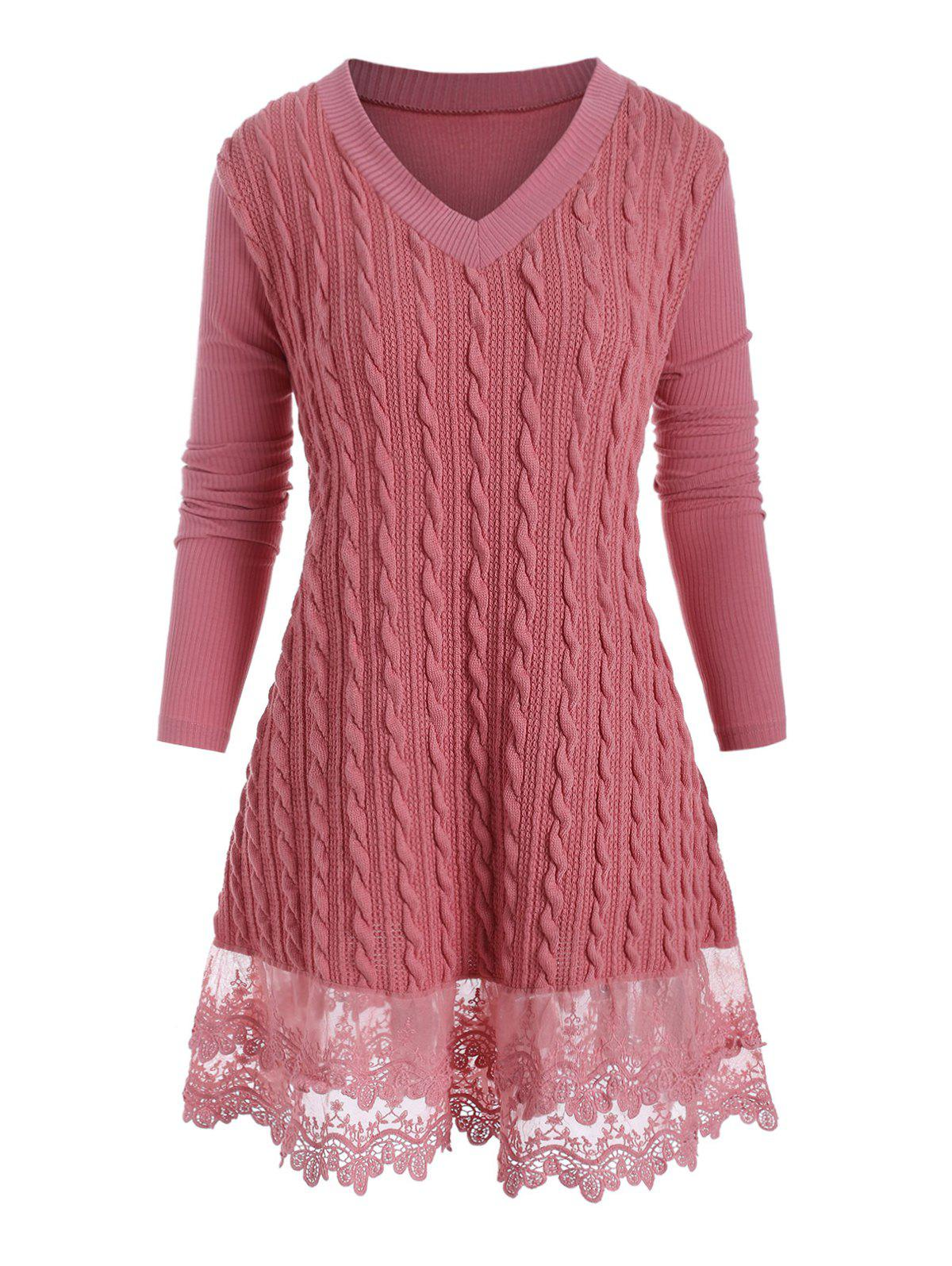 Plus Size V Neck Lace Hem Cable Knit Sweater - ROSE 4X
