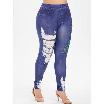 Pull On 3D Floral Embroidered Applique High Waisted Plus Size Jeggings