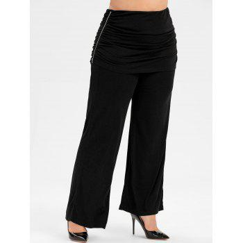 Plus Size Zip Ruched Skort Pants