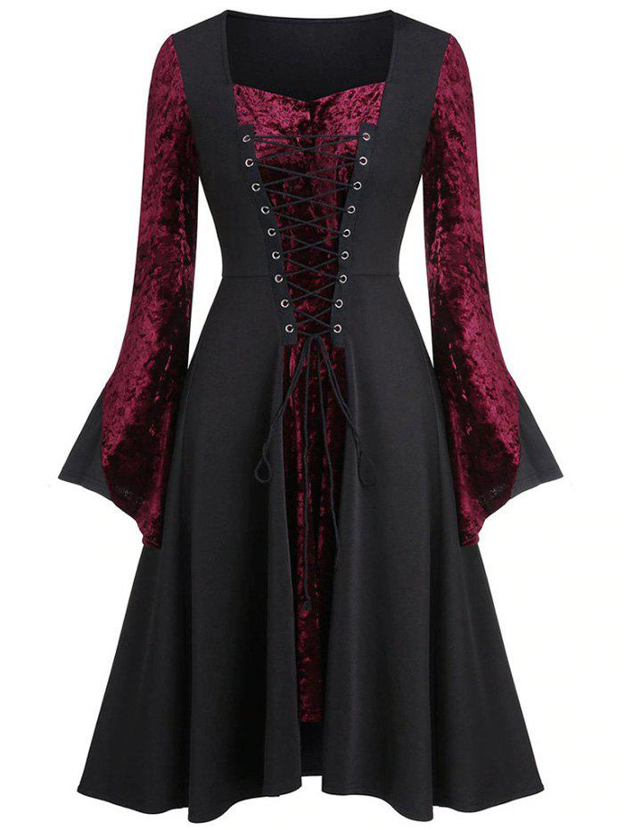 Lace Up Velvet Panel Vintage Dress - RED WINE 2XL