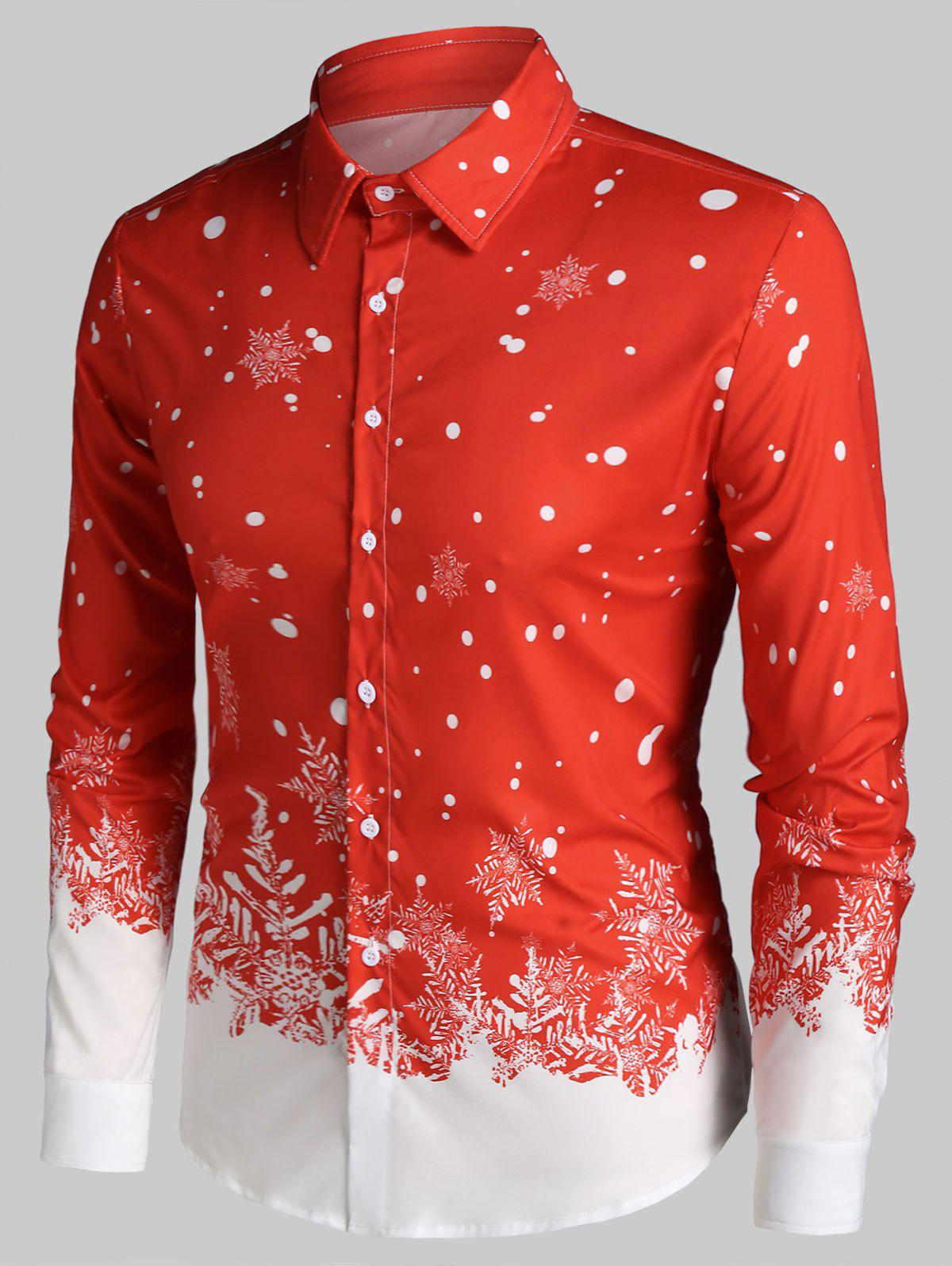 Christmas Snowflake Print Button Up Long Sleeve Shirt - RED 3XL
