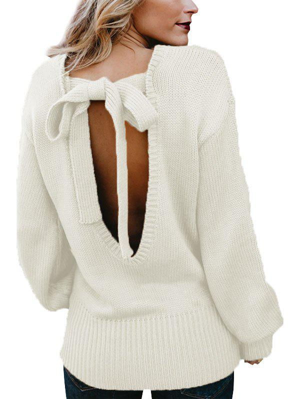 Knotted Back Solid Crew Neck Sweater - WHITE S