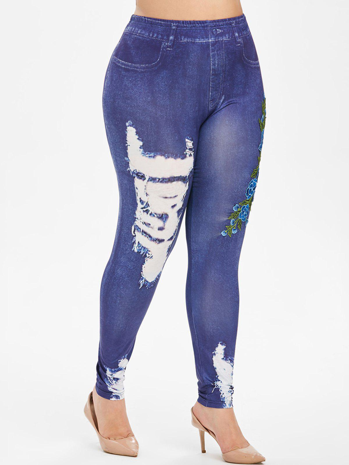 Pull On 3D Floral Embroidered Applique High Waisted Plus Size Jeggings - BLUE 5X