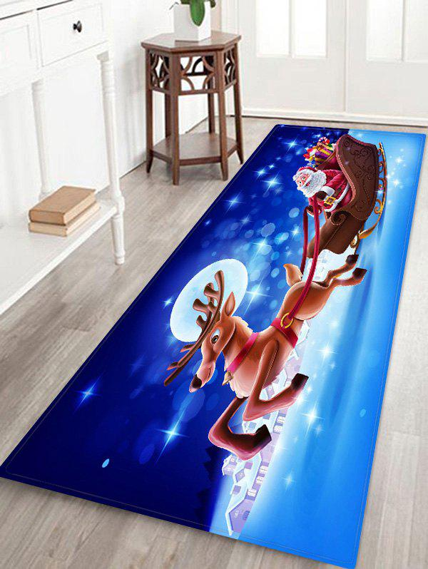 Father Christmas Deer Gift Floor Rug - multicolor W24 X L71 INCH