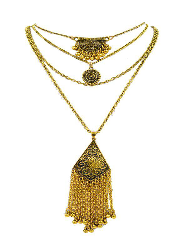 Bohemian Fringe Carved Pendant Layered Sweater Chain - GOLD