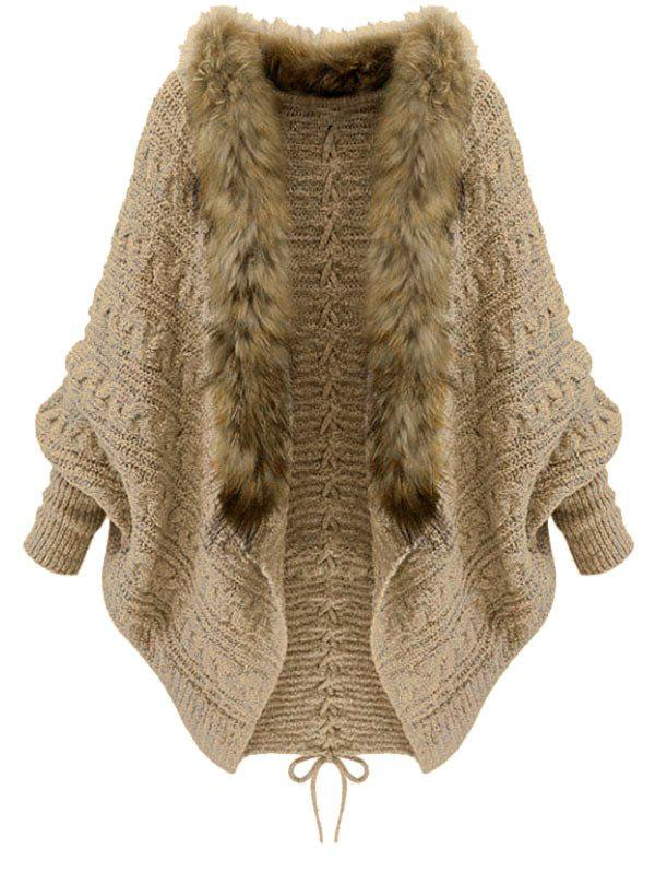 Faux Fur Trim Lace Up Batwing Sleeve Cardigan - CAMEL BROWN ONE SIZE