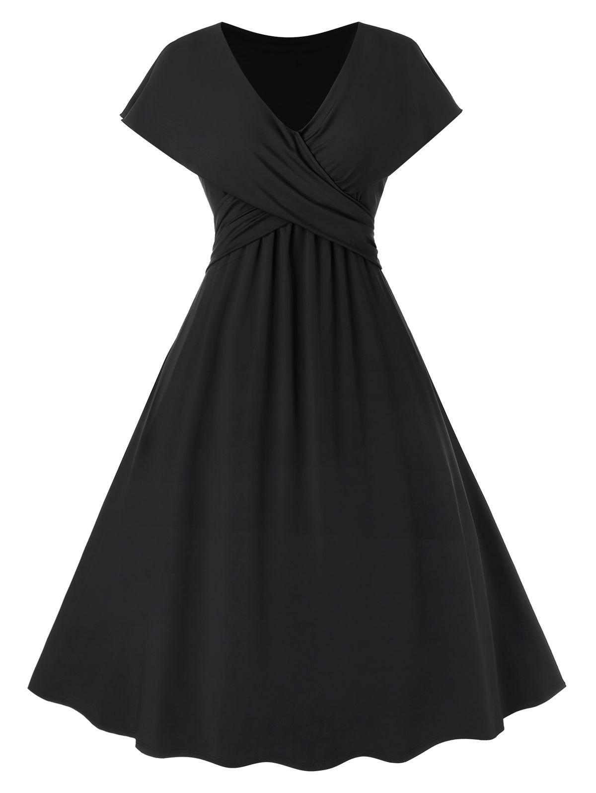 Plus Size Crossover Pin Dress Up - Noir 5X