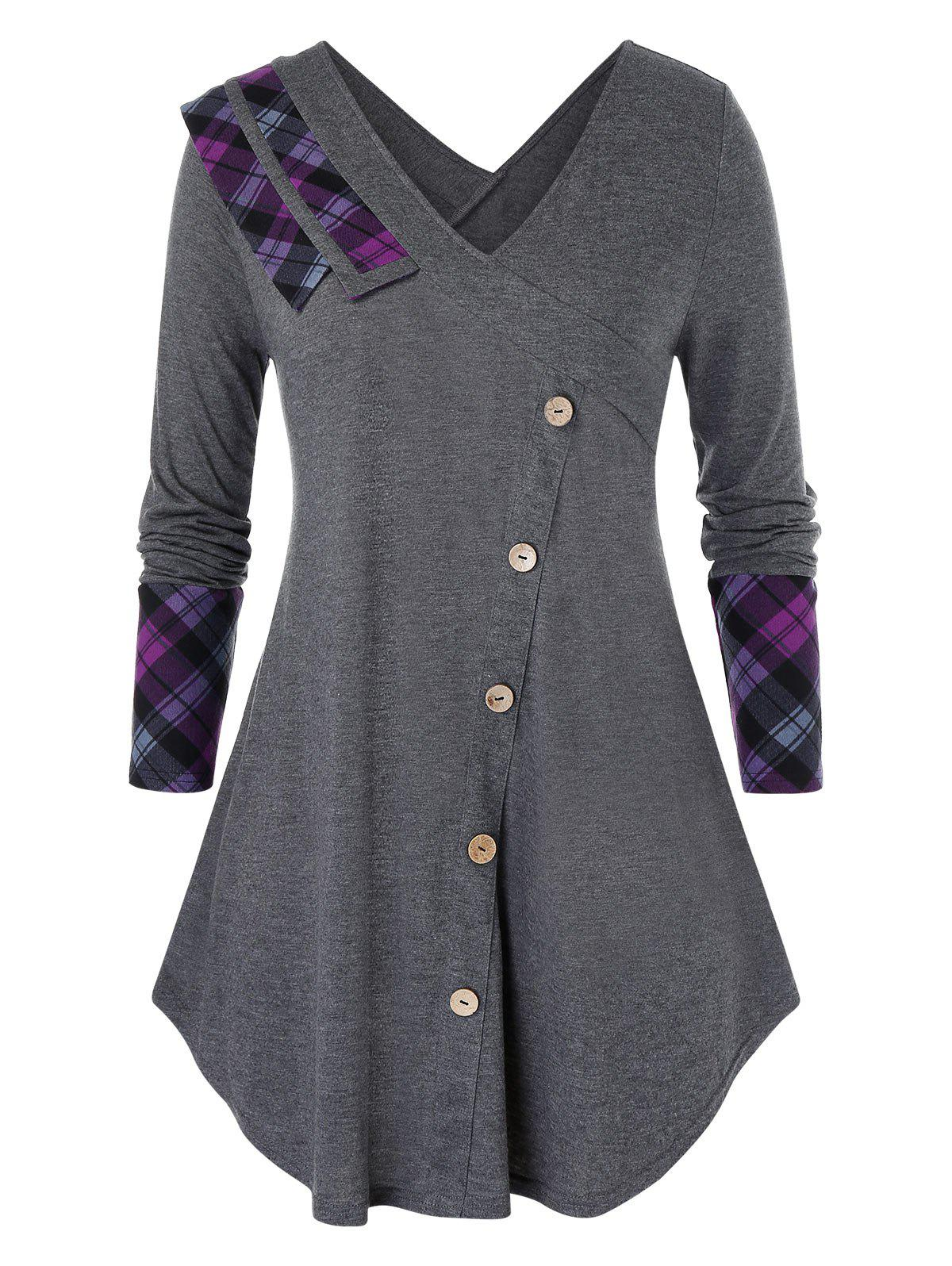 Plus Size Plaid Panel Long Sleeve Buttoned Tunic Tee - GRAY 1X